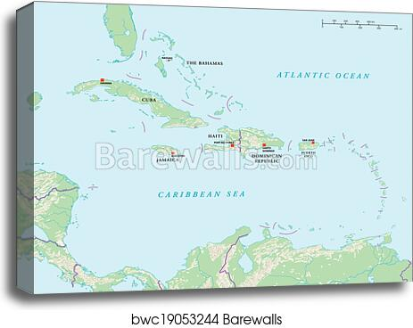 photo regarding Printable Map of Caribbean Islands known as Caribbean Islands Political Map canvas print