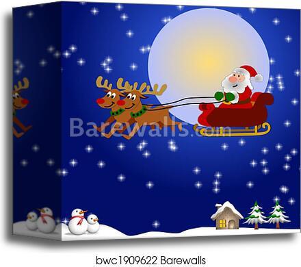 canvas print of santa and his sleigh barewalls posters prints