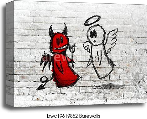 Angel And Devil Fighting Doodle Drawing On White Brick Wall Canvas Print