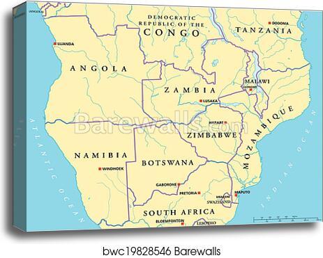 South-Central Africa Political Map canvas print on central african republic national football team, rwanda map, central asia, sudan map, latin america map, senegal map, gabon map, azerbaijan map, congo river map, sahel map, sao tome and principe map, congo basin map, west africa, tanzania map, kuwait map, south africa, central african empire, democratic republic of congo map, east africa, republic of the congo, yemen arab republic, djibouti map, alexandre banza, afghanistan map, madagascar map, cameroon map, equatorial guinea map, kasai river map,