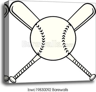 Canvas Print Of Crossed Baseball Bats And Ball Barewalls Posters