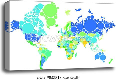 Canvas Print Of Dot World Map With Countries Barewalls Posters