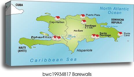 Canvas Print Of Map Of Hispaniola Barewalls Posters Prints