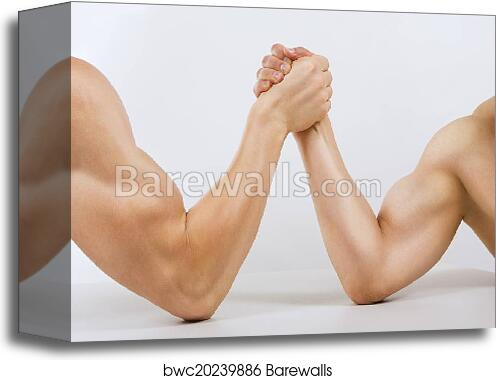 Canvas Print of Two muscular hands clasped arm wrestling | Barewalls ...