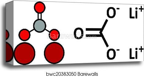 Lithium carbonate (Li2CO3) bipolar disorder drug, chemical structure   canvas print