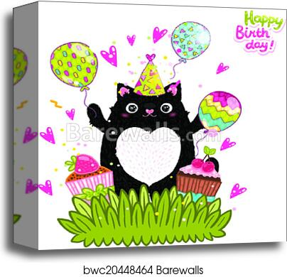 Happy Birthday Card Background With A Cat Canvas Print