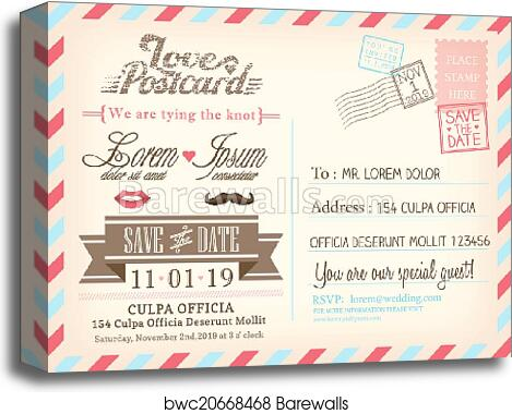Vintage Airmail Postcard Background Vector Template For Wedding Invitation Card Canvas Print