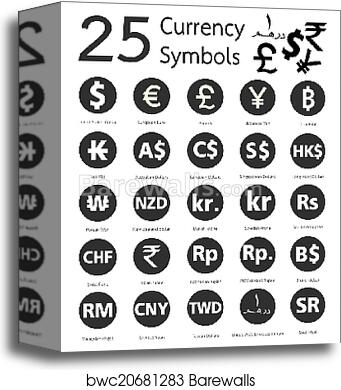 Canvas Print Of 25 Currency Symbols Countries And Their Name Around