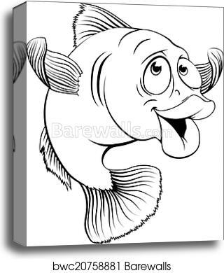 Canvas Print Of Cod Fish Cartoon