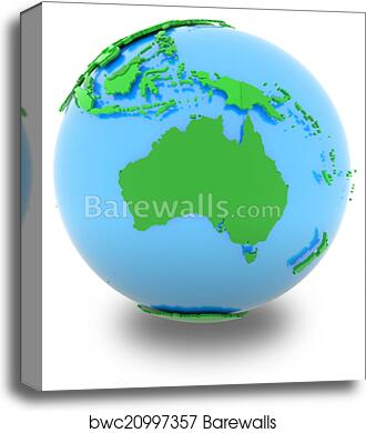 Australia Map Globe.Australia On The Globe Canvas Print
