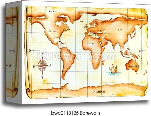Canvas Print Of Old World Map Barewalls Posters Prints Bwc2118126