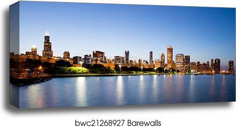 Chicago Skyline Wall Art chicago skyline at dusk art print/canvas print home decor wall art