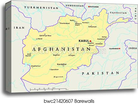 Canvas Print Of Afghanistan Political Map Barewalls Posters