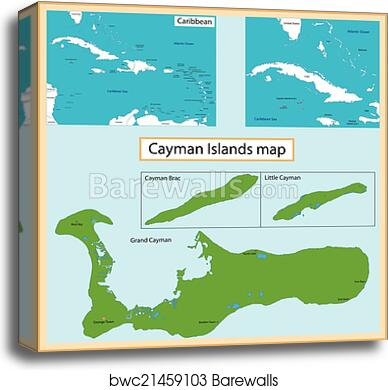 graphic regarding Printable Map of Grand Cayman identified as Cayman Islands map canvas print