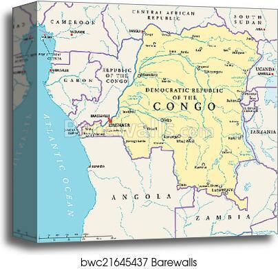 Congo Democratic Republic Political Map canvas print on dar es salaam on map of africa, mogadishu on map of africa, tripoli on map of africa, maputo on map of africa, jerusalem on map of africa, brazzaville on map of africa, lagos on map of africa, democratic republic of the congo on map of africa, khartoum on map of africa, lusaka on map of africa, kigali on map of africa, addis ababa on map of africa, walvis bay on map of africa, victoria falls on map of africa, africa on map of africa, central african republic on map of africa, white nile on map of africa, alexandria on map of africa, timbuktu on map of africa, nairobi on map of africa,