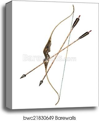 Bow and hunting arrows isolated canvas print