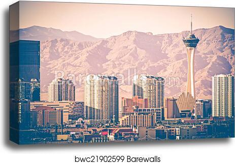 Vintage Las Vegas Skyline Canvas Print Barewalls Posters Prints Bwc21902599