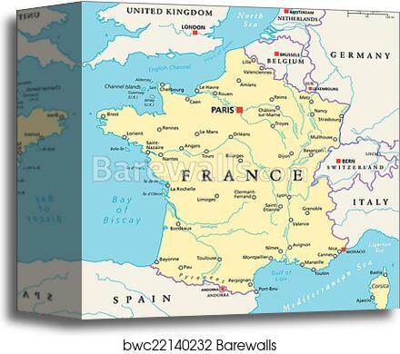 France Political Map Canvas Print Barewalls Posters Prints Bwc22140232