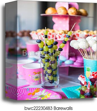 Canape Of Fruit White Chocolate Cake Pops And Popcorn On Sweet Childrens Table At Birthday Party