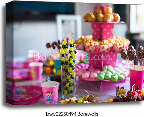 Canape Of Fruit White Chocolate Cake Pops And Popcorn On Sweet Childrens Table At Birthday Party Canvas Print