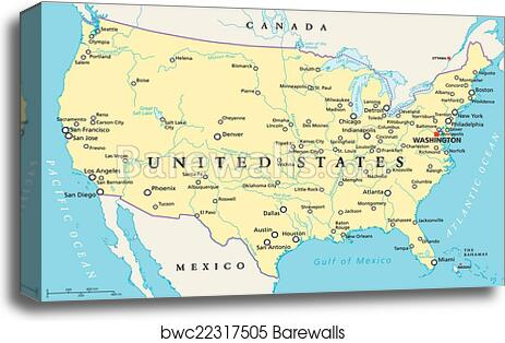 United States of America Map canvas print