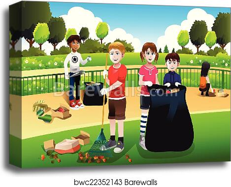 Kids volunteering cleaning up the park canvas print