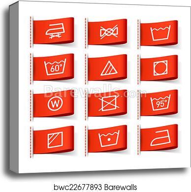 Canvas Print Of Washing Symbols On Clothing Labels Barewalls