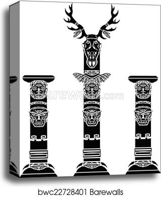 Totem Pole With A Deer Skull Canvas Print Barewalls Posters