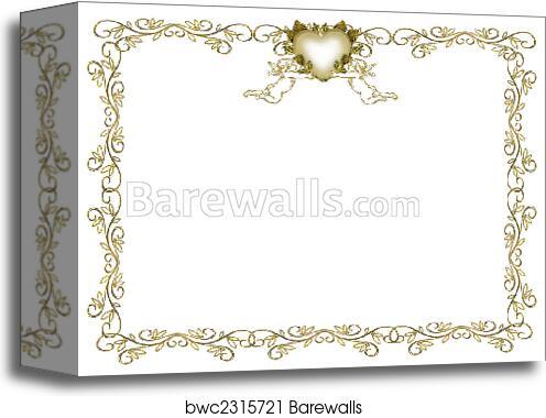 Wedding Invitation Gold Border Angels Canvas Print Barewalls
