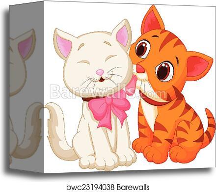 Cartoon Cat Licking Canvas Print Barewalls Posters Prints Bwc23194038