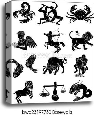 1e208e3ff The twelve astrology horoscope signs of the zodiac. Aquarius Gemini Taurus  Aries Scorpio Sagittarius Capricorn Pisces Cancer Leo Virgo and Libra -  Canvas