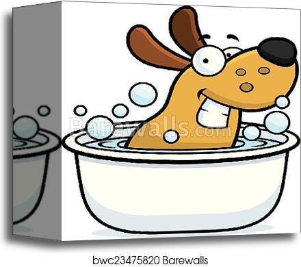 Cartoon Dog Bath Canvas Print Barewalls Posters Prints