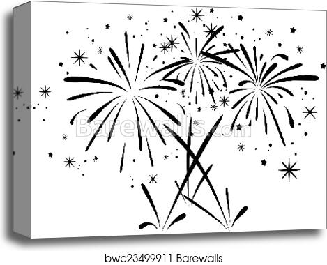Vector Abstract Black And White Bursting Fireworks Canvas Print