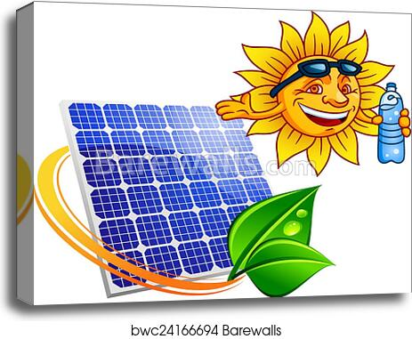 Solar Panel With Cartoon Sun And Bottle Canvas Print Barewalls Posters Prints Bwc24166694