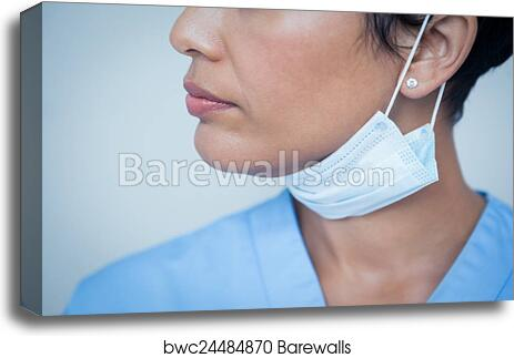 Mask Canvas Female Dentist Surgical Print Wearing