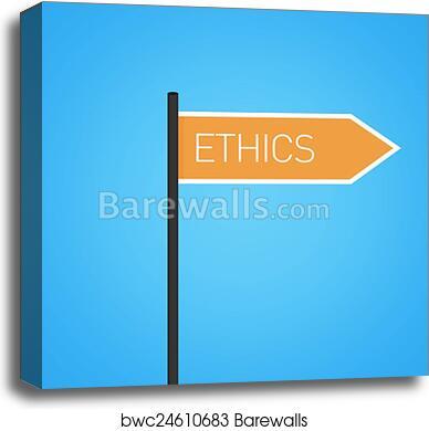 canvas print of ethics nearby flat orange road sign barewalls