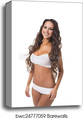 Tanned Busty Brunette Smiles Broadly At Camera Canvas Print