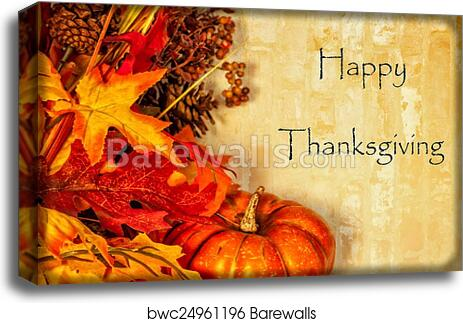Canvas Print Of Happy Thanksgiving Card