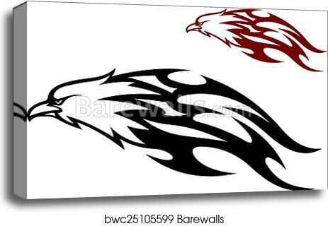 Flying eagle trailing flames canvas print