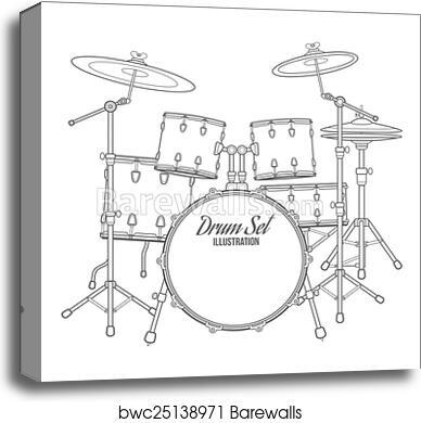 Canvas Print Of Vector Dark Outline Drum Set On White Background