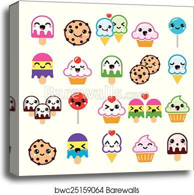 Canvas Print Of Cute Kawaii Food Characters