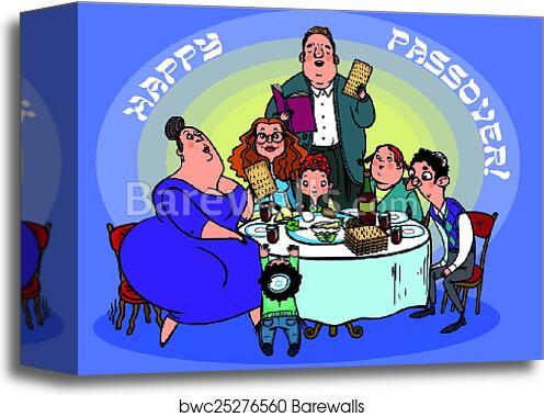 Canvas print of funny happy jewish passover greeting card vector canvas print of funny happy jewish passover greeting card vector illustration m4hsunfo