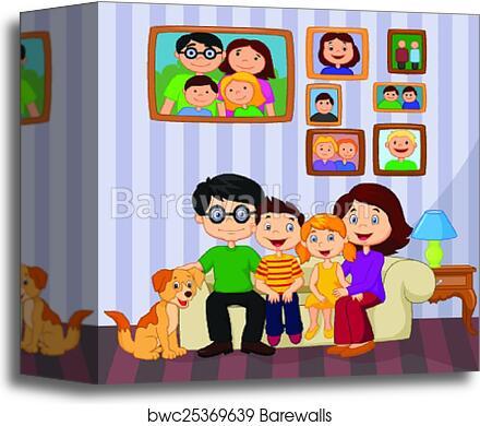 Happy Family Cartoon Sitting On Sof Canvas Print Barewalls Posters Prints Bwc25369639