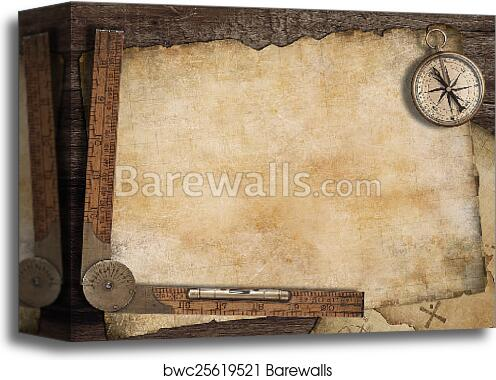 Canvas Print Of Blank Treasure Map Background With Old Compass And Ruler Adventure Concept
