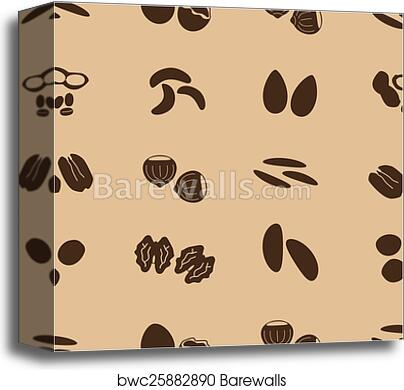Various nuts types brown icons set eps10 canvas print