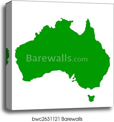 Outline Map Of Australia And Tasmania Canvas Print Barewalls