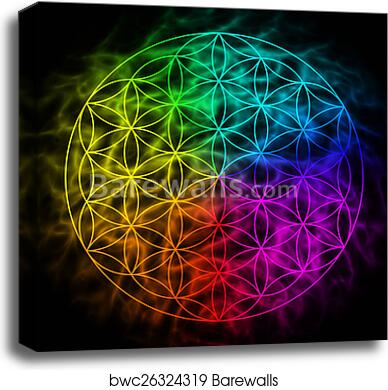 Rainbow flower of life with aura - symbol of sacred geometry canvas print