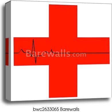 Canvas Print Of First Aid Symbol With Flatline Heart Rhythm