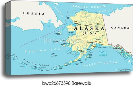 graphic about Printable Map of Alaska named Alaska Political Map canvas print