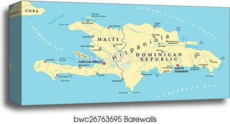Hispaniola Political Map with Haiti canvas print
